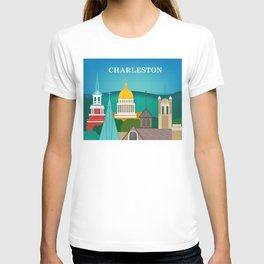 Charleston, West Virginia - Skyline Illustration by Loose Petals T-shirt