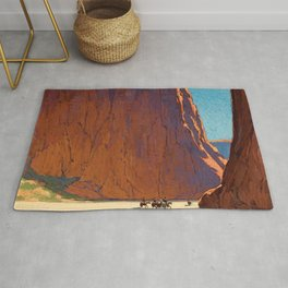 Sunset on the sandstone cliffs, Canyon de Chelly Landscape by Edgar Alwin Payne Rug
