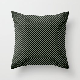Black and Vineyard Green Polka Dots Throw Pillow