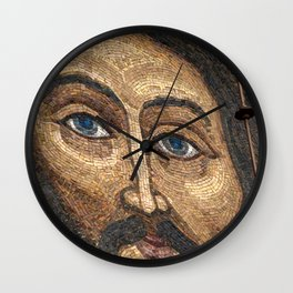 Christian mosaic with image of Jesus Christ on the wall of the Trinity Cathedral in Pochaev Lavra Wall Clock
