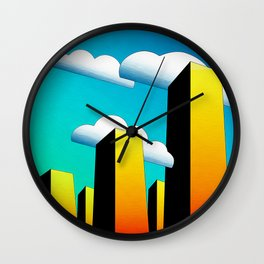 Tall Buildings And Low Clouds Wall Clock
