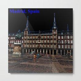 Neon Art of a plaza in Madrid, Spain Metal Print
