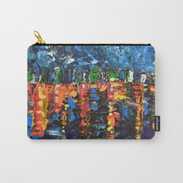 Sleepless City - Abstract palette knife city landscape art by adriana Dziuba Carry-All Pouch