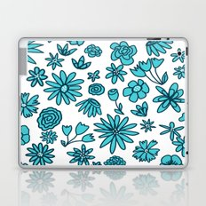 Blue Flowers on White Laptop & iPad Skin