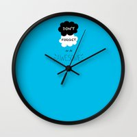tfios Wall Clocks featuring DFTBA TFIOS Nerdfighter Vlogbrothers Don't Forget to be Awesome, The Fault in Our Stars, John Green by Corrie Jacobs