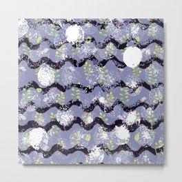 Modern abstract black white lilac floral geometrical Metal Print