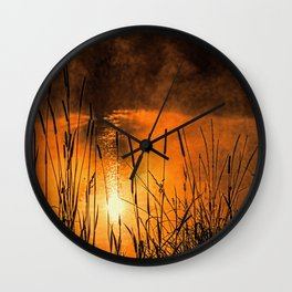 Sunrise at the lake /Sonnenaufgang am See Wall Clock