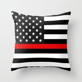 Thin Red Line American Flag Throw Pillow