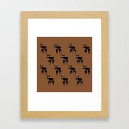 Brown Moose Pattern Framed Art Print