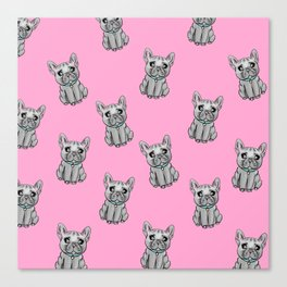 French Bulldogs PINK Canvas Print