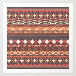 Aztec tribal pattern in stripes, vector illustration Art Print