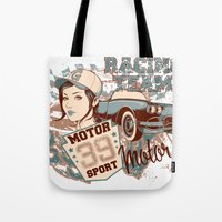 racing Tote Bags featuring Racing Team by Tshirt-Factory
