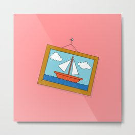 Scene from Moby Dick on pink Metal Print
