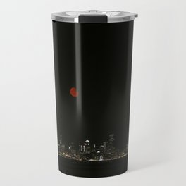 Smokey Moon over Seattle Travel Mug