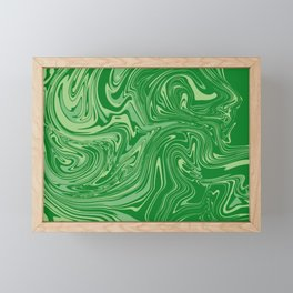 Green pastel abstract marble Framed Mini Art Print