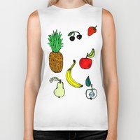 fruit Biker Tanks featuring Fruit by krrstnn