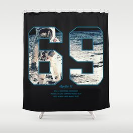 Apollo Mission 1969 First MAn on the Moon Art print Shower Curtain