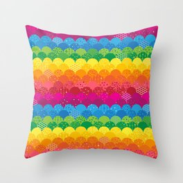Waves of Rainbows Throw Pillow