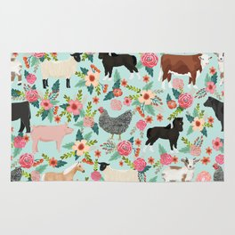 Farm animal sanctuary pig chicken cows horses sheep floral pattern gifts Rug