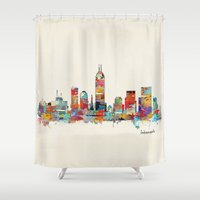 indiana Shower Curtains featuring Indianapolis Indiana skyline by bri.buckley