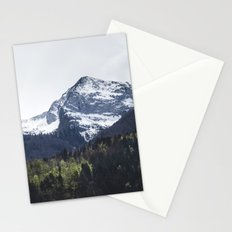 Winter and Spring - green trees and snowy mountains Stationery Cards