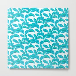 spring mint rubber leaves pattern Metal Print