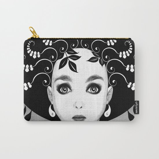 Black and white floral portrait Carry-All Pouch