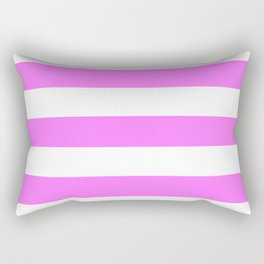 Fuchsia pink - solid color - white stripes pattern Rectangular Pillow