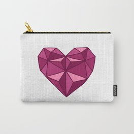 Geometric Diamond Heart - Rubelite Carry-All Pouch