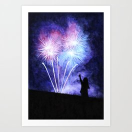 Blue and pink fireworks Art Print