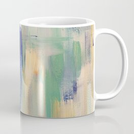 Calm blue fire: minimal, acrylic abstract art in indigo, teal and rose gold / Original Painting Coffee Mug