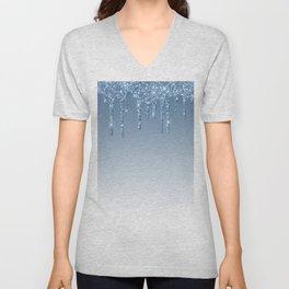 Blue Dripping Glitter Unisex V-Neck