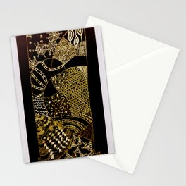 Web in Black & White & Gold Stationery Cards