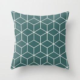 Cube Geometric 03 Teal Throw Pillow