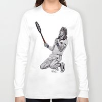 tennis Long Sleeve T-shirts featuring Tennis Borg by Paul Nelson-Esch Art