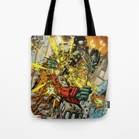 transformers Tote Bags featuring transformers by Haribow