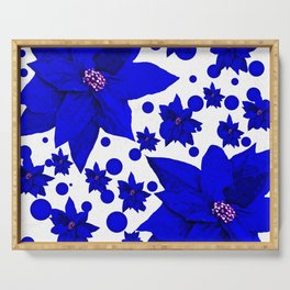 Poinsettia Blue Indigo Pattern Serving Tray