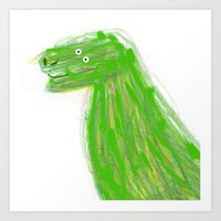 dinosaur Art Prints featuring DINOSAUR  by Lydia Coventry