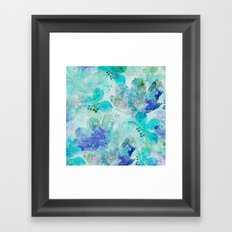 blue turquoise mixed media flower illustration Framed Art Print