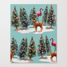 VINTAGE CHRISTMAS TREES with Flamingo and snow, CHRISTMAS BOTTLE BRUSH TREE, With deer and Flamingo Canvas Print