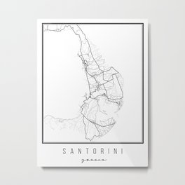 Santorini Greece Street Map Metal Print