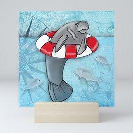 Manatee in a Swim Ring Mini Art Print
