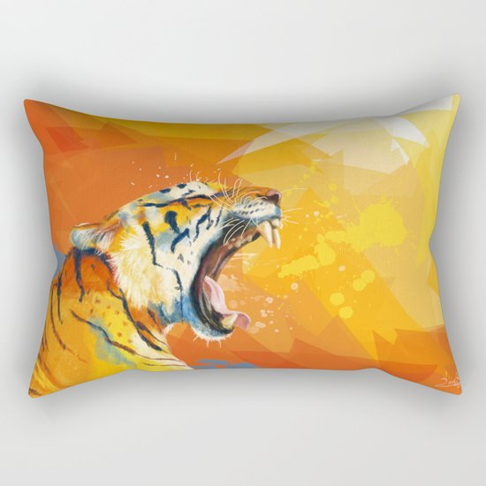 Tiger in the morning Rectangular Pillow