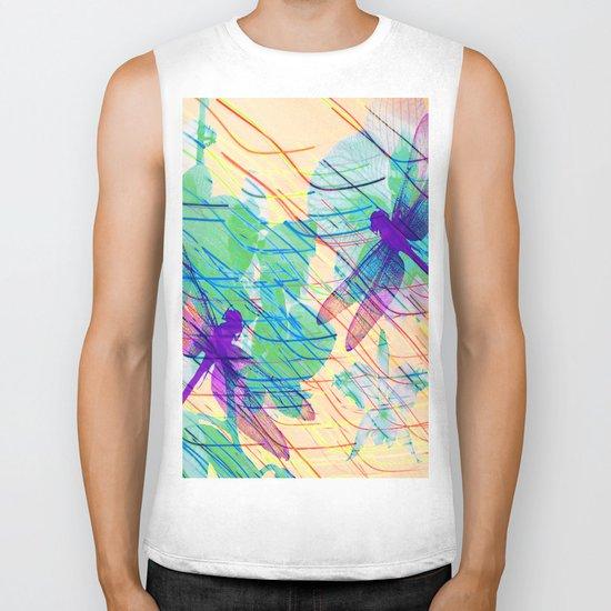 Colorful Dragonflies Biker Tank