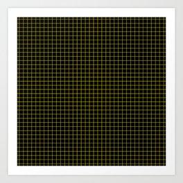 Dark Yellow Grid Art Print