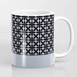 Black Square Petals Graphic Design Pattern  on PPG Paint Rendezvous Blue Coffee Mug