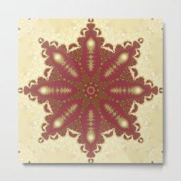 Neha   Red Gold Mandala Metal Print