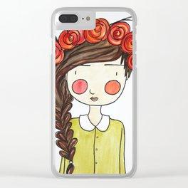 Autumn Girl Clear iPhone Case