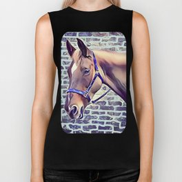 Brown Horse with Harness Biker Tank