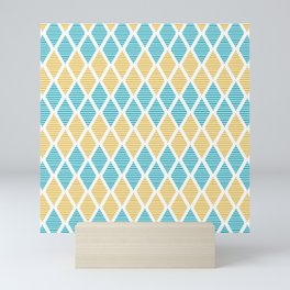 Geometric pattern with striped rhombus in blue and yellow palette Mini Art Print